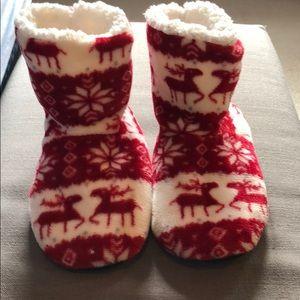 Fleece reindeer slipper booties- fits a size 7/8